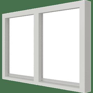 Vast glas | 2 vakken horizontaal | hout