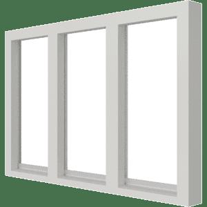 Vast glas | 3 vakken horizontaal | hout