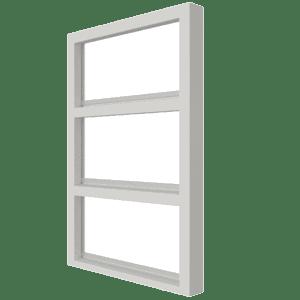Vast glas | 3 vakken verticaal | hout