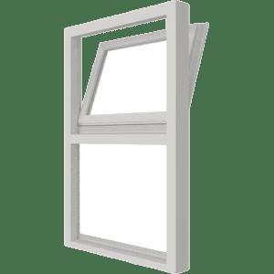 Draai-kiepraam (boven) en vast glas verticaal | 2 vakken | hout