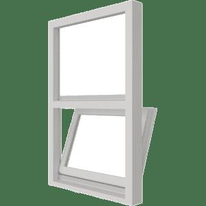 Draai-kiepraam (onder) en vast glas verticaal | 2 vakken | hout