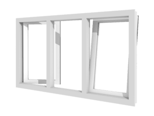 2 Draai-kiepramen en vast glas | 3 vakken | kunststof