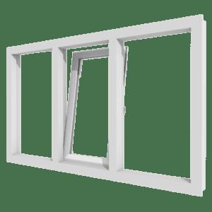 Draai-kiepraam en vast glas | 3 vakken | kunststof