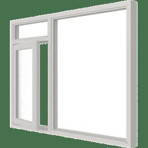 Draairaam met bovenlicht (links) en vast glas | 3 vakken | hout