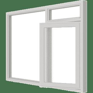 Draairaam met bovenlicht (rechts) en vast glas | 3 vakken | hout