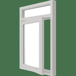 Draairaam met bovenlicht | 2 vakken | hout