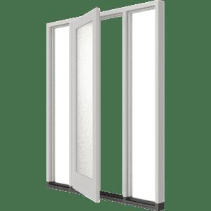 Stapeldorpeldeur met 2 zijlichten – buitendraaiend | hout