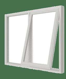 Uitzetraam (rechts) en vast glas | 2 vakken | hout