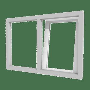 Draai-kiepraam (rechts) en vast glas | 2 vakken | kunststof