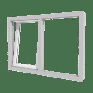 Draai-kiepraam (links) en vast glas | 2 vakken | kunststof